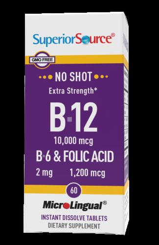 Superior Source No Shot Extra Strength B12 & B6 & Folic Acid Tablets 10000mcg / 2mg / 1200mcg Perspective: front