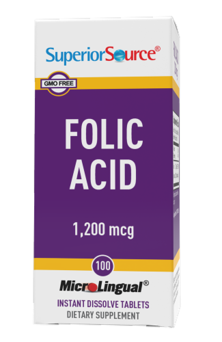 Superior Source Folic Acid Dissolving Tablets 1200mg Perspective: front