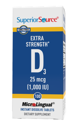Superior Source Vitamin D3 Dissovling Tablets 1000IU Perspective: front