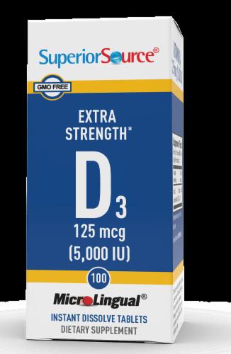 Superior Source Vitamin D3 Dissolving Tablets 5000IU Perspective: front