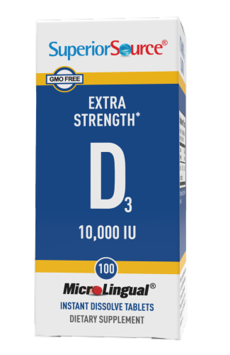 Superior Source Extra Strength Vitamin D3 Instant Dissolve Tablets 10000 IU Perspective: front