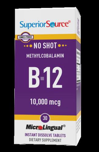 Superior Source No Shot Methylcobalamin B-12 Dissolving Tablets 10000mcg Perspective: front