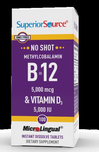 Superior Source No Shot B-12 & Vitamin D Instant Dissolvie Tablets 100 Count Perspective: front