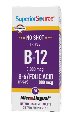 Superior Source No Shot Triple B-12 3000mcg & B6-Folic Acid 800mcg Instant Dissolve Tablets Perspective: front