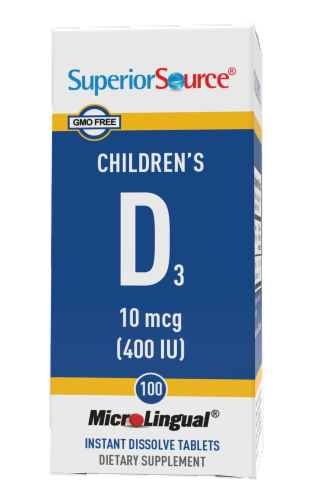 Superior Source Children's D3 Tablets 10mcg Perspective: front