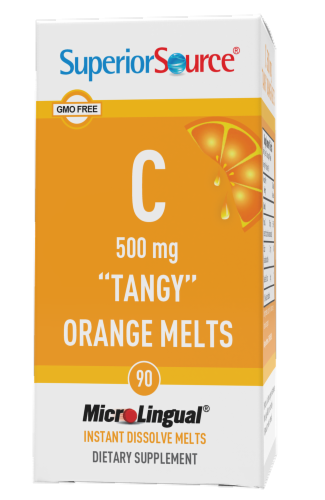 Superior Source Tangy Orange Vitamin C Melts 500mg 90 Count Perspective: front