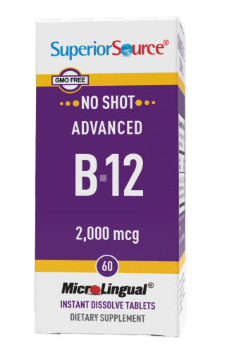 Superior Source No Shot Advanced B-12 Instant Dissolve Tablets 2000mcg Perspective: front