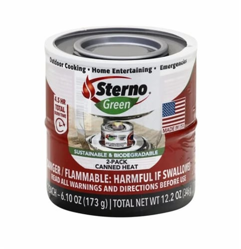 Sterno Green Ethanol Canned Heat Perspective: front