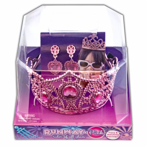 Imperial Toy Runway Ruler of All Glam Tiara with Earrings - Pink Perspective: front