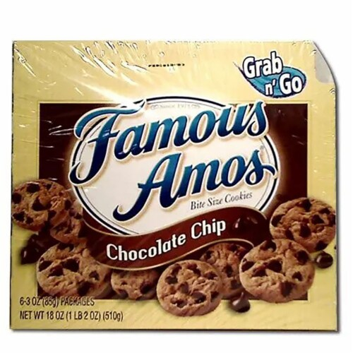 Kelloggs Famous Amos Chocolate Chip Cookies, 3 Ounce -- 36 per case. Perspective: front