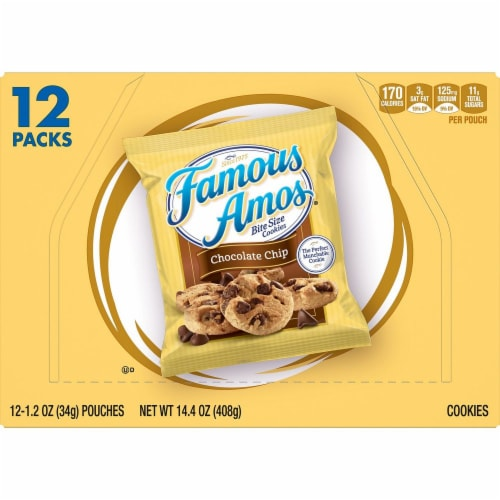 Famous Amos Chocolate Chip Bite Size Cookies Perspective: front