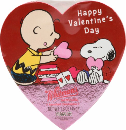 Whitman's Happy Valentine's Day Snoopy Heart Sampler Perspective: front