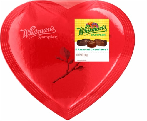 Whitman's Sampler Assorted Chocolates Heart Box Perspective: front