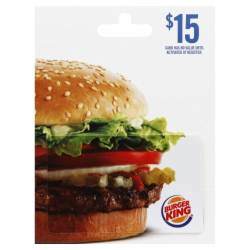 Burger King $15 Gift Card Perspective: front