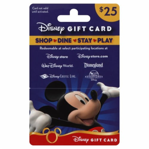 Disney $25 Gift Card Perspective: front