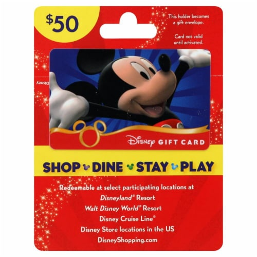 Disney $50 Gift Card Perspective: front