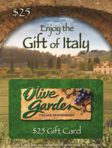 Olive Garden $25 Gift Card Perspective: front