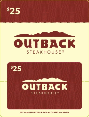 Outback Steakhouse $25 Gift Card Perspective: front