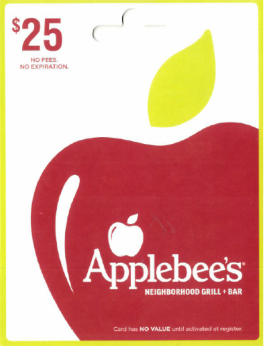 Applebee's $25 Gift Card Perspective: front