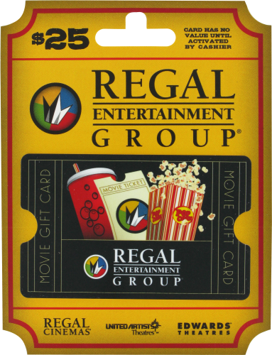 Regal Entertainment Group $25 Gift Card Perspective: front