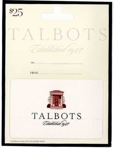 Talbots $25 Gift Card Perspective: front