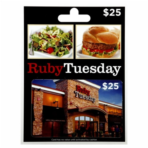 Ruby Tuesday $25 Gift Card Perspective: front