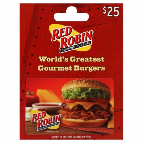 Red Robin $25 Gift Card - After Pickup visit us online to activate and add value Perspective: front