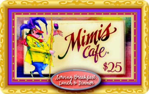 Mimi's Cafe $25 Gift Card Perspective: front