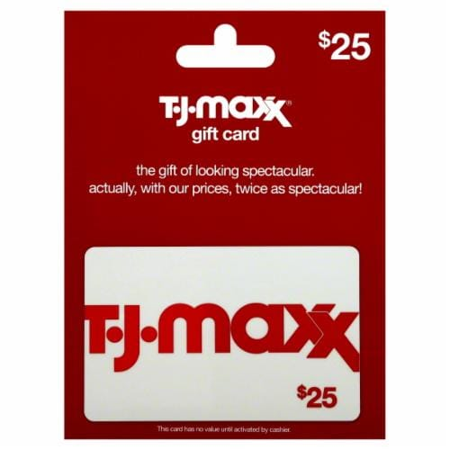 T.J.Maxx $25 Gift Card Perspective: front
