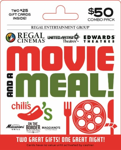 Regal & Brinker Movie and a Meal $50 Gift Card Perspective: front