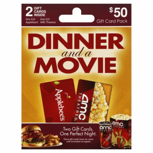Dinner and a Movie AMC/Applebee's $50 Gift Card Perspective: front