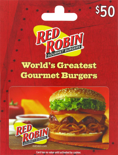 Red Robin $50 Gift Card Perspective: front