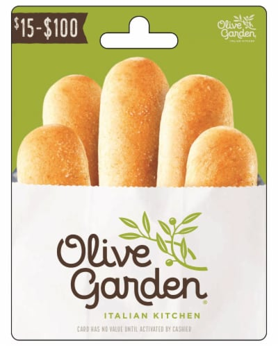 Olive Garden $15-$100 Gift Card - After Pickup, visit us online to activate and add value Perspective: front
