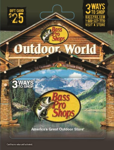 Bass Pro Shops $25 Gift Card Perspective: front