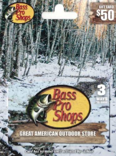 Bass Pro Shops $50 Gift Card Perspective: front