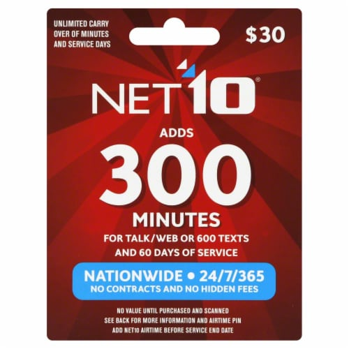 Net10 Wireless 300 Minutes Phone Card Perspective: front