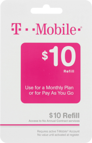 T-Mobile $10 Gift Card Perspective: front