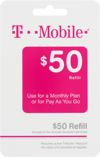 T Mobile $50 Gift Card Perspective: front