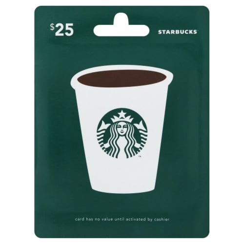 Starbucks $25 Gift Card Perspective: front