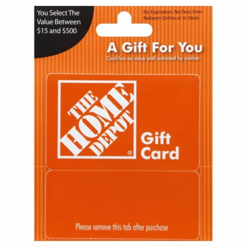 The Home Depot Variable Amount Gift Card Perspective: front