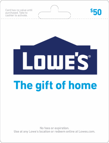 Lowe's $50 Gift Card Perspective: front