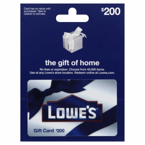 Lowe's $200 Gift Card Perspective: front