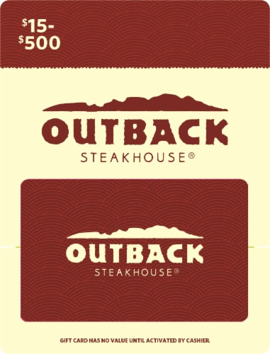 Outback $15-$500 Gift Card Perspective: front