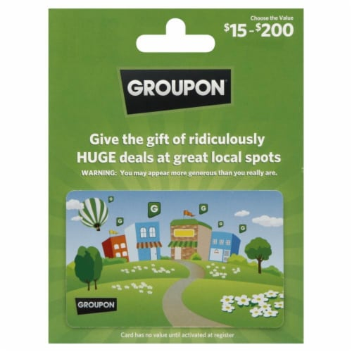 Groupon $15-$500 Gift Card Perspective: front