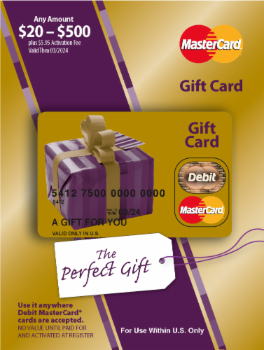 Mastercard $20-$500 Gift Card ($5.95 activation fee) Perspective: front