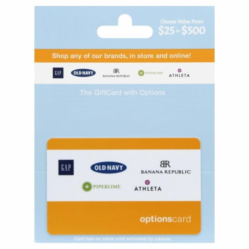 Gap Options Variable Amount Gift Card Perspective: front