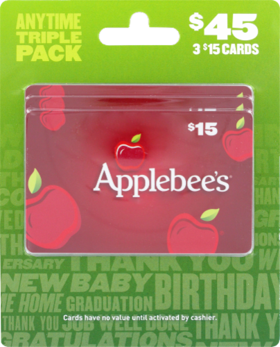 Applebee's Anytime Triple Pack $45 Gift Card Multipack Perspective: front