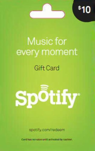 Spotify $10 Gift Card Perspective: front