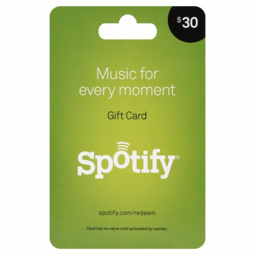 Spotify $30 Gift Card Perspective: front