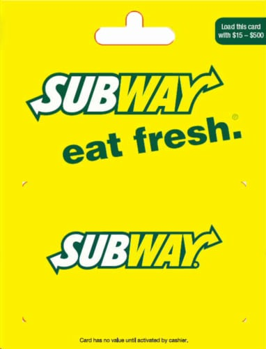 Subway $15-$500 Gift Card Perspective: front